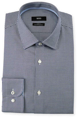 BOSS Men's Slim Fit Small-Check Egyptian Cotton Dress Shirt