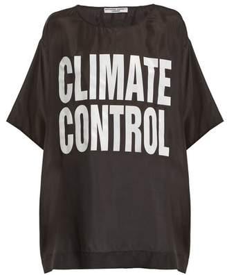 Katharine Hamnett Climate Control Print Silk T Shirt - Womens - Black