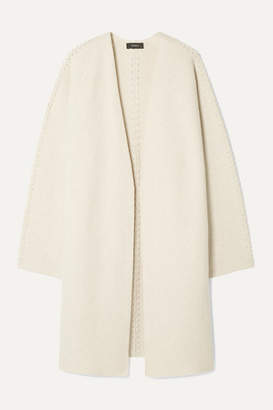 Theory Whipstitched Wool And Cashmere-blend Cardigan - Ecru