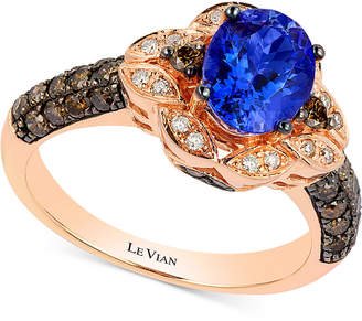 LeVian Le Vian Chocolatier Blueberry Tanzanite (1 ct. t.w) and Diamond (2/3 ct. t.w) Ring in 14k Rose Gold, Created for Macy's
