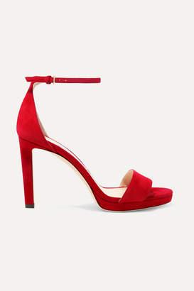 Jimmy Choo Misty 100 Suede Platform Sandals - Red