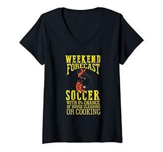 Womens Weekend Forecast Funny Crazy Soccer Mom Life Birthday Gift V-Neck T-Shirt