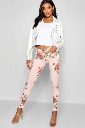 boohoo Pink Floral Skinny Jean