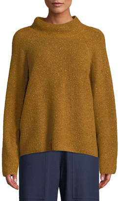 Eileen Fisher Tweedy Funnel-Neck Sweater