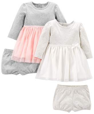 Carter's Simple Joys By Simple Joys by Girls' 2-Pack Long-Sleeve Dress Set with Bloomers