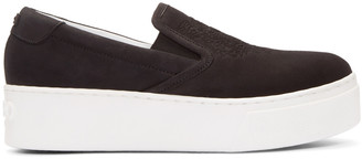 Kenzo Black Suede Tiger Slip-On Sneakers $345 thestylecure.com