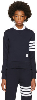 Thom Browne Navy Classic Four Bar Sweatshirt $495 thestylecure.com
