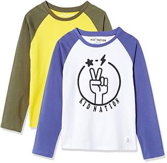 Kid Nation Kid's 2 Pack Long Sleeve Raglan T-Shirts with Solid Color Block Raglan for Boys Girls M