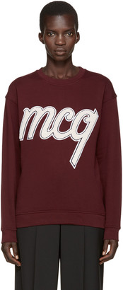 McQ Alexander Mcqueen Burgundy Embroidered Pullover $295 thestylecure.com