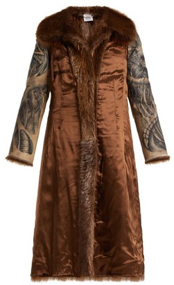 Vetements Inside Out Belted Fur Coat - Womens - Brown Multi