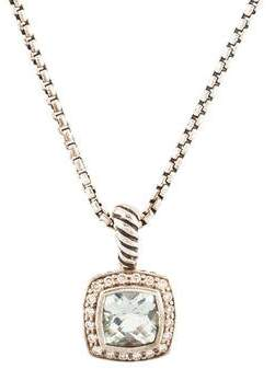 David Yurman Prasiolite & Diamond Petite Albion Pendant Necklace w/ Tags
