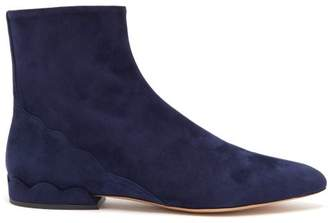 Chloé Laurena Scalloped Suede Ankle Boots - Womens - Navy