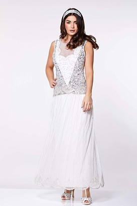 Gatsbylady London Elaina Drop Waist Flapper Dress in Off White