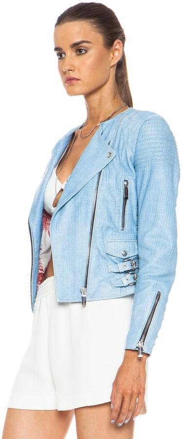 Barbara Bui Printed Lambskin Leather Moto Jacket
