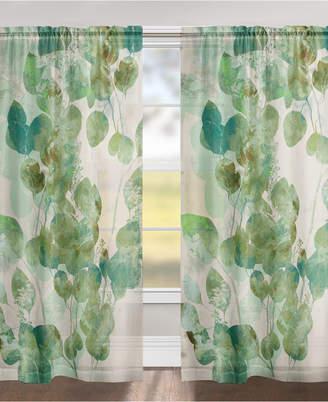 "Laural Home Green Watercolor Eucalyptus Leaves 84"" Sheer Window Panel"