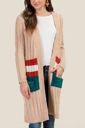 francesca's Claire Striped Pocket Cardigan - Sand