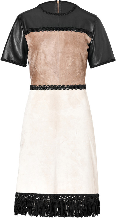 Derek Lam Leather Patchworked Dress with Fringed Hem