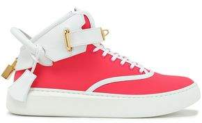 Buscemi Embellished Neon Leather And Neoprene High-top Sneakers