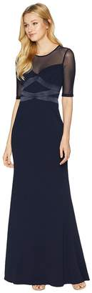 Adrianna Papell Short Sleeve Long Knit Crepe Gown with Contrasting Bodice Detail Women's Dress