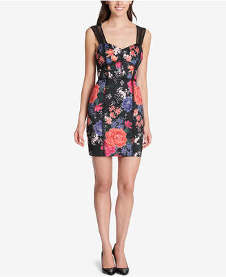 GUESS Floral Corset-Seam Bodycon Dress