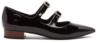 Gucci Liv Crystal Buckle Patent Leather Flats - Womens - Black