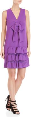Moschino Purple Ruffled Bow Shift Dress