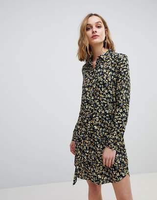 Warehouse Ditsy Marigold Floral Print Shirt Dress
