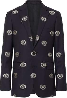 Burberry Slim Fit Fil Coupé Crest Wool Tailored Jacket