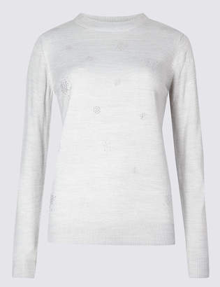 M&S Collection Embellished Round Neck Jumper