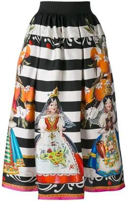 Dolce & Gabbana doll print skirt