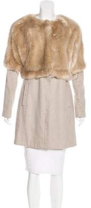 Tibi Faux Fur-Accented Coat