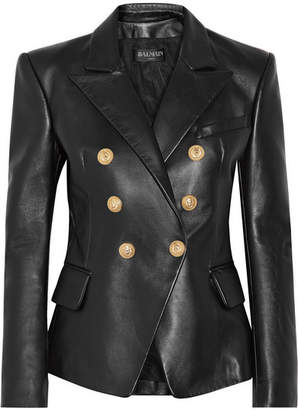 Balmain - Double-breasted Leather Blazer - Black $3,550 thestylecure.com