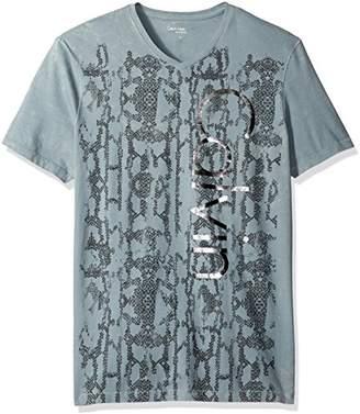 Calvin Klein Jeans Men's Short Sleeve Snakeskin Calvin Logo V-Neck T-Shirt