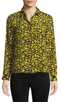 Alice + Olivia Willa Floral Print Silk Shirt