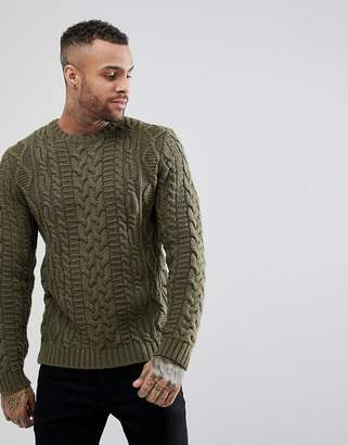 Asos Chunky Cable Knit Sweater In Khaki