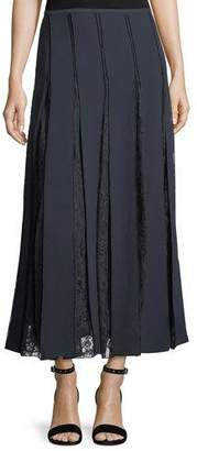 Lafayette 148 New York Lauralee Finesse Crepe Skirt w/ Lace Insets