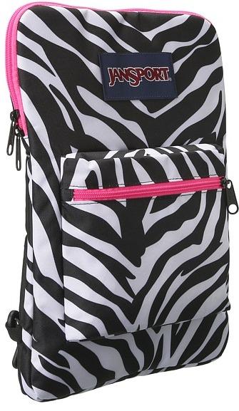 JanSport Superbreak Sleeve (Black/White/Fluorescent Pink Miss Zebra) - Bags and Luggage