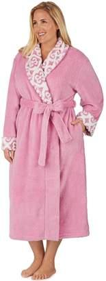 Stan Herman Plus Size Jacquard Collar Plush Robe