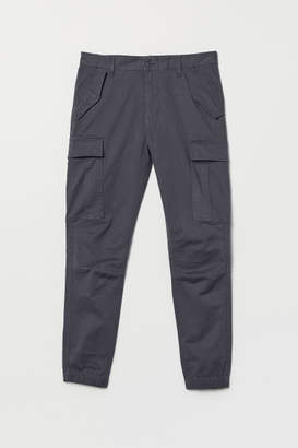 H&M Cotton Twill Cargo Joggers - Blue