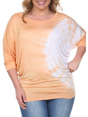 White Mark Women's Plus Size Tie Dye Bat Sleeve Top