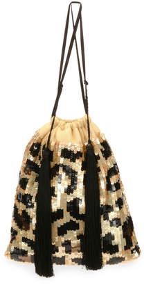 ATTICO Full Sequin Leopard Pouch Bag