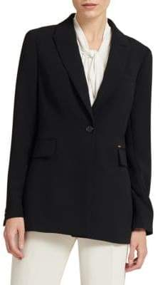 Donna Karan One-Button Long Jacket