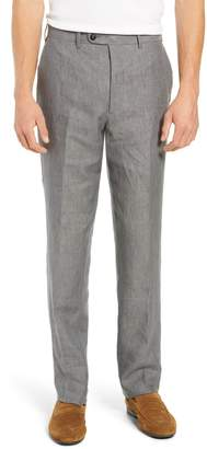 John W. Nordstrom R) Torino Flat Front Solid Linen Trousers