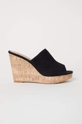 H&M Wedge-heel Mules - Black