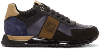 Fendi Black and Blue Forever Patch Sneakers