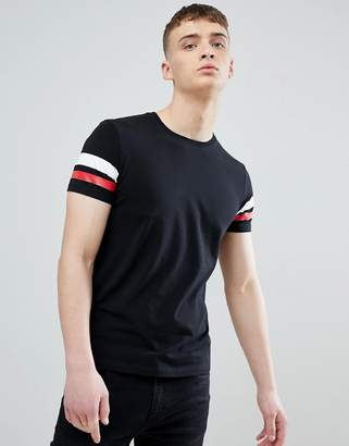 Esprit Muscle Fit T-Shirt In Black With Arm Stripe