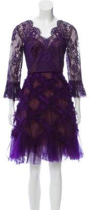 Marchesa Lace Knee-Length Dress w/ Tags Purple Lace Knee-Length Dress w/ Tags