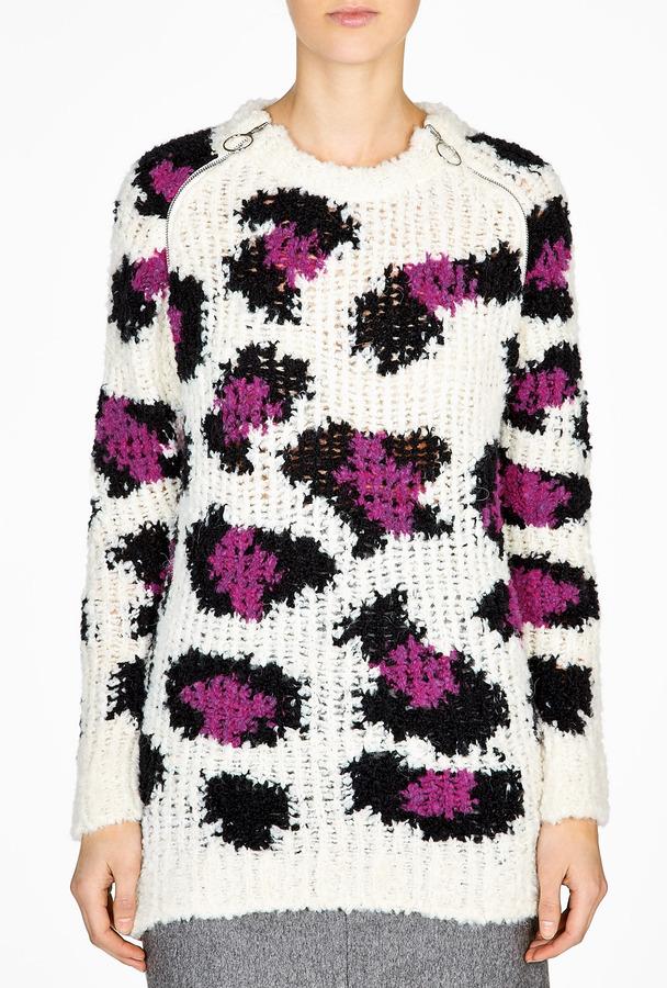 Moschino Cheap & Chic Chunky Leopard Print Jumper