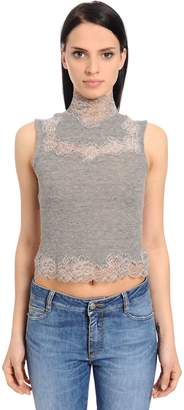 Ermanno Scervino Wool Knit Crop Top W/ Lace Inserts