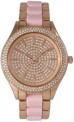 OLIVIA PRATT Olivia Pratt Womens Rhinestone Bezel Rhinestone Dial Rose Pink Two Tone Bracelet Watch 15295